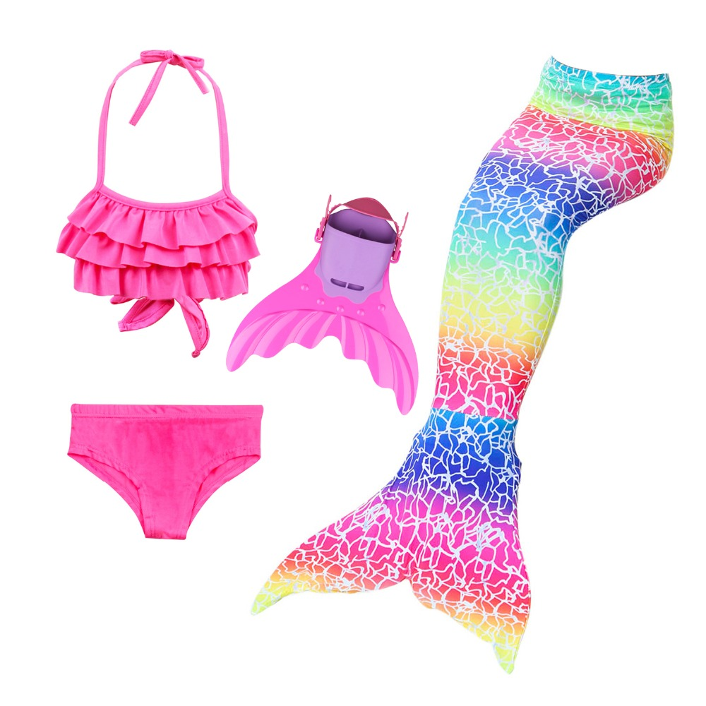 Swimming Mermaid Tails Costume Little Children Mermaid Swimsuit Girls 5 Rainbow Colors Tails with Wavy Fin Swimwear