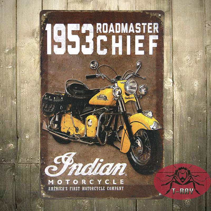 1953 INDIAN MOTOR TIN SIGN Retro Wall ART Metal Home Bar Decoration C-14 Mix order 20*30 CM