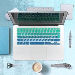 Русские буквы градиент ес / великобритания макет силиконовая наклейки на клавиатуру русские покрова для MacBook Air 13 Pro 13 15 imac 21.5 27 беспроводная ...