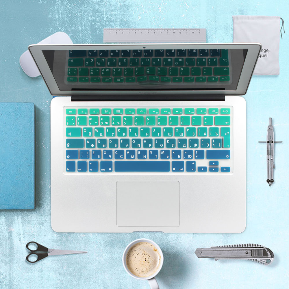 RUSSIAN UKRAINE French Spanish EU UK Soft Silicone Keyboard Cover Protector Skin For Macbook Pro Air 13 15 17 Retina Cyrillic