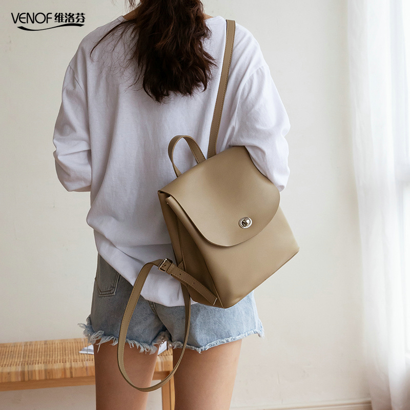 VENOF Luxury Split Leather Backpack For Women Fashion Travel Shoulder Bags Top Grade School Bags For Girls Mochila Feminina 2019