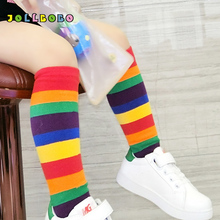 2018 New Arrival Children Rainbow Socks Kids Sport Girls Boys Colorful Striped Soft Cotton Knee High Toddler Quality