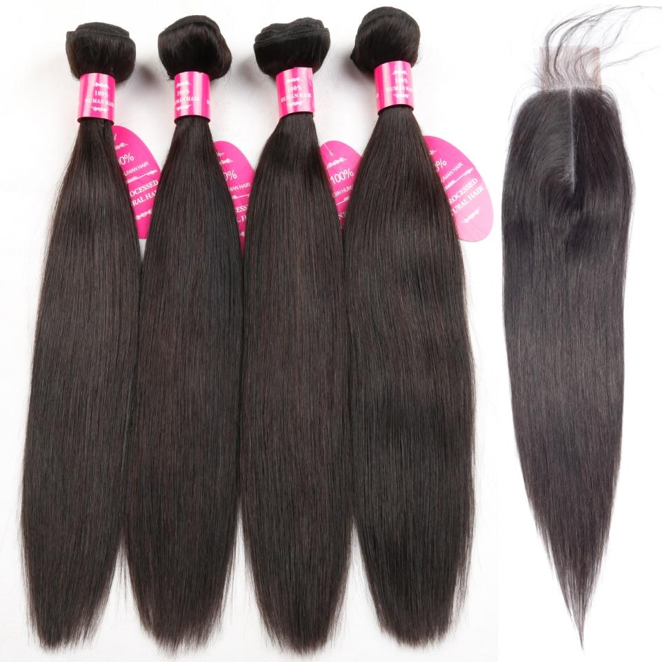 Queenlike Straight Brazilian Hair Weave Bundles With 2x6 Kim Kardashian Closure Non Remy 4 Pcs Human