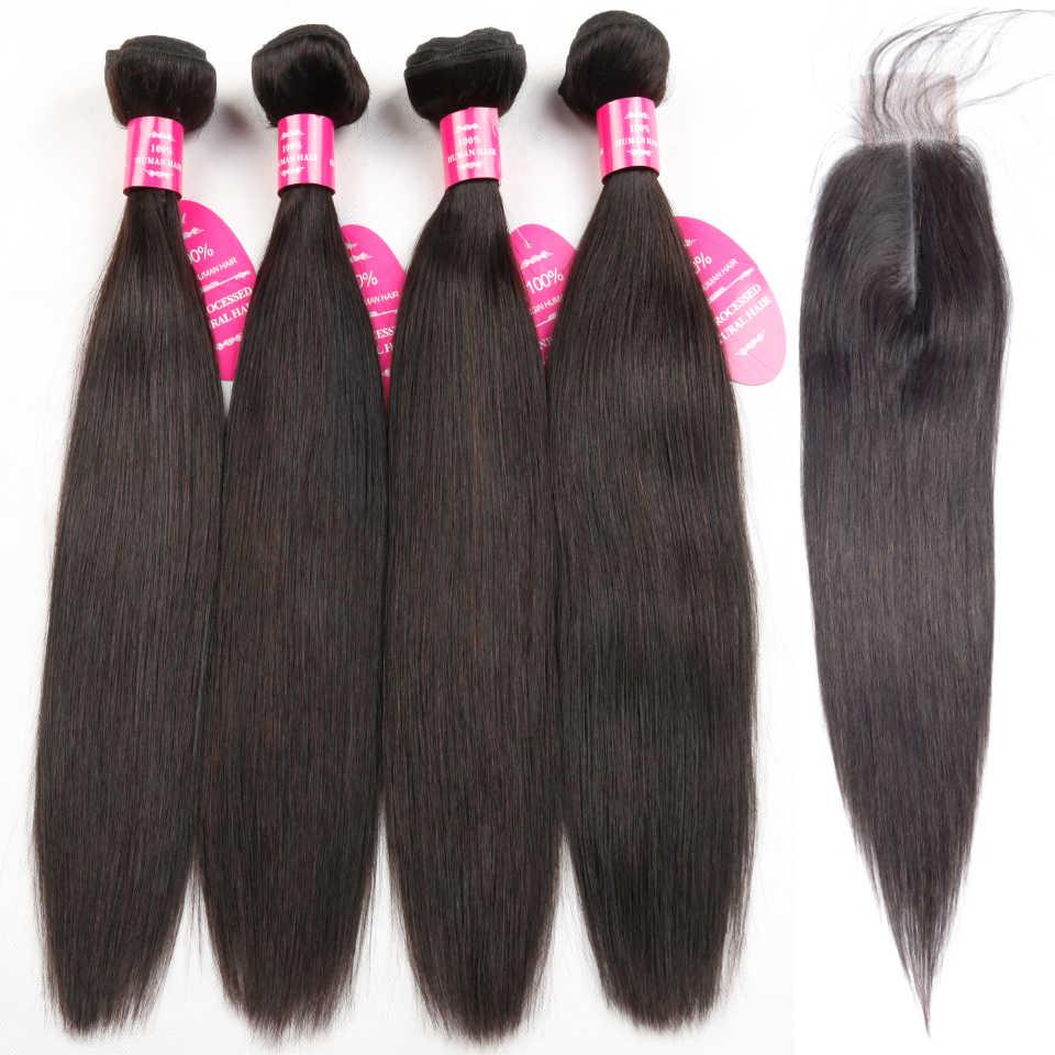 Queenlike прямые бразильские пучки волос с 2x6 Ким Кардашьян закрытие не Реми 4 шт человеческие волосы пучки с закрытием