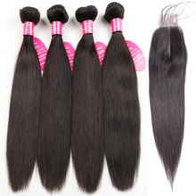 Queenlike Straight Brazilian Hair Weave Bundles With 2x6 Kim Kardashian Closure Non Remy 4 Pcs Human Hair Bundles With Closure(China)