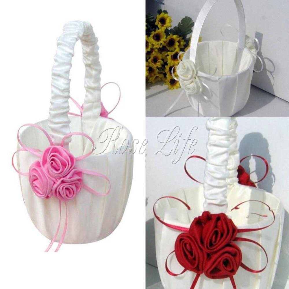 3Colors Rose Flower Girl Baskets for Wedding Favors Bridesmaid ...