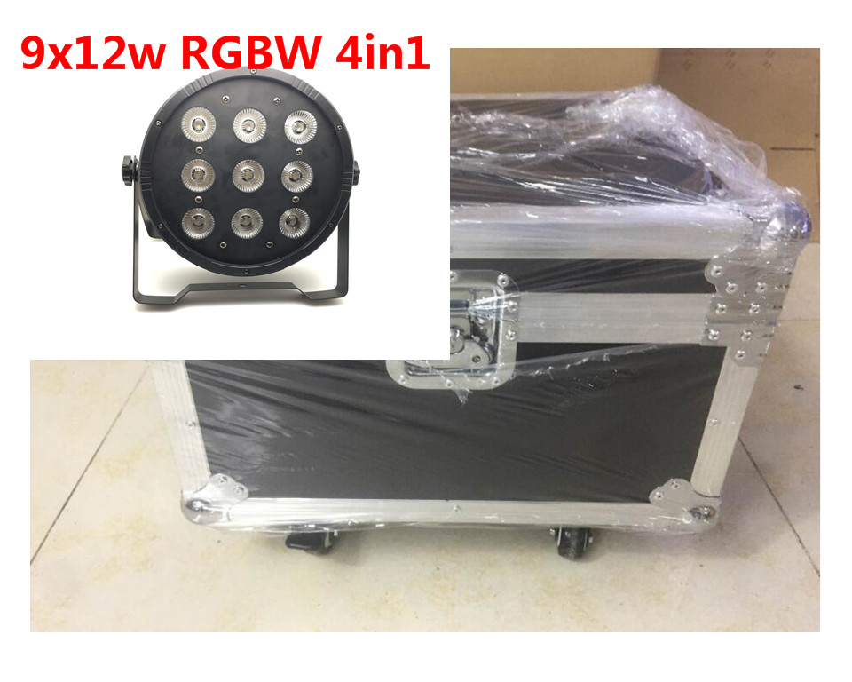 6 unids 9x12 w con flightcase dj discoteca de iluminacion par led rgbw etapa Par Luz Controlador DMX Disco Party Bar Strobe Oscu 4pcs 18x12w led par light rgbw disco lamp stage light luces disco discoteca beam luz de projector lumiere dmx controller