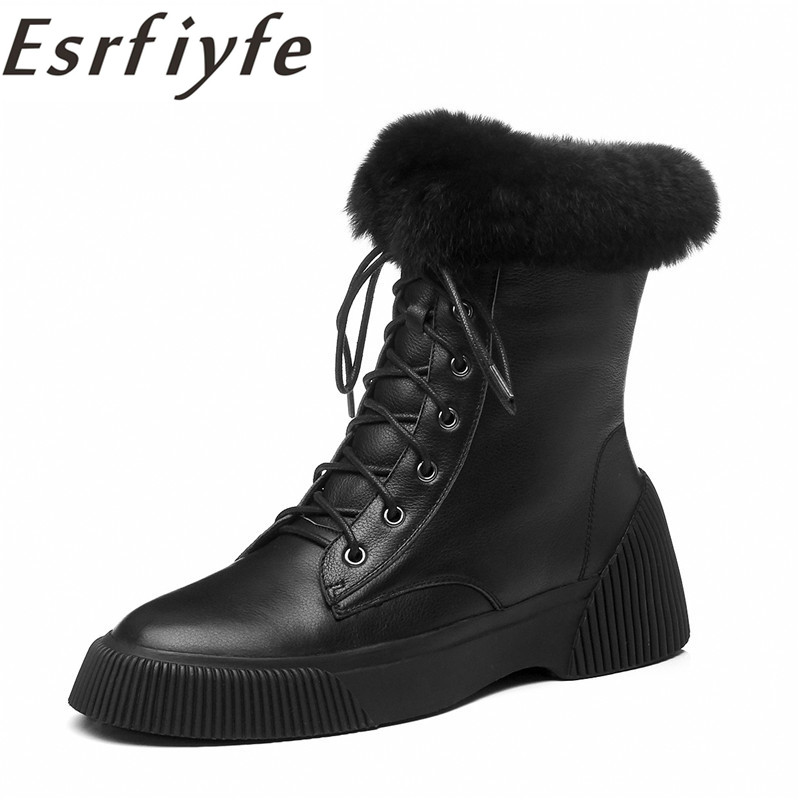 ESRFIYFE cuir véritable 2018 femme bottines mode hiver chaussures Feminina femme moto bottes de neige pour les femmes Botas Mujer