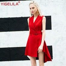 Yigelila женское красное платье ol модное элегантное с v образным