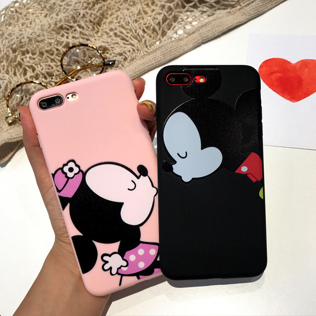 Cute Lovers Mickey Minnie Mouse Kiss Hard PC Phone Case For iphone 8 7plus 7 6 6s plus c ...
