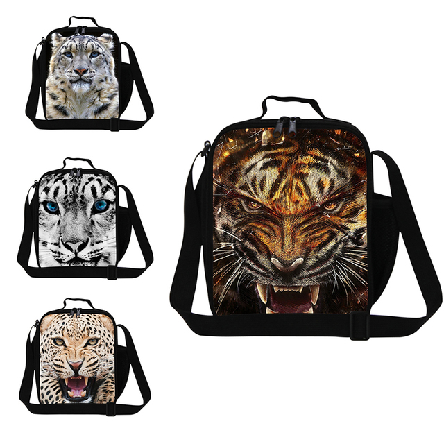 Cool zoo animal lunch bags pattern for kids school,men's tiger printing lunch box,insulated food bags,thermal picnic bag child