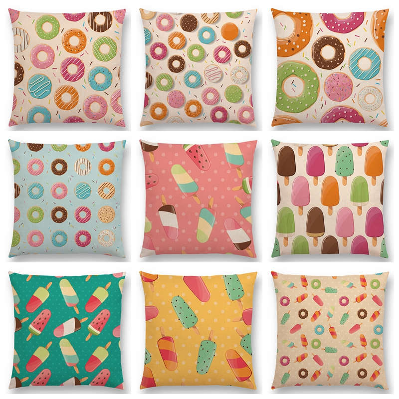 Colorful Cartoon Cute Chocolate Candy Donuts Pretty Ice Cream Pattern Color Party Cushion Cover Sofa Throw Pillow Case Decor