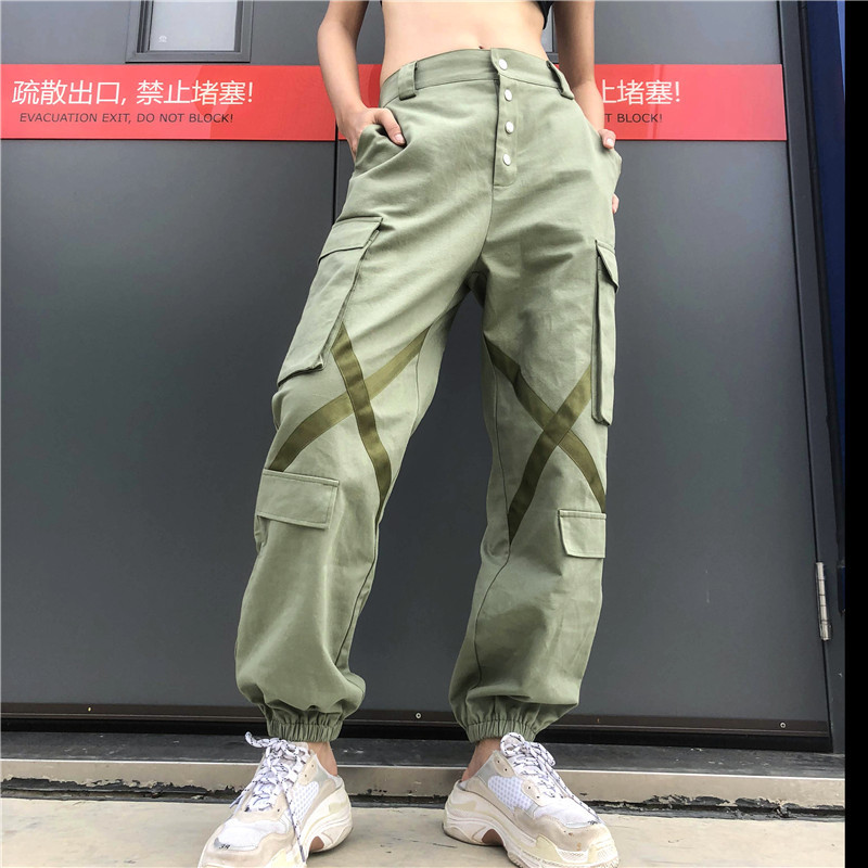 2019 Streetwear Cargo   Pants   Women Casual Joggers Green High Waist Loose Female Trousers Korean Style Ladies   Pants     Capri   XM513