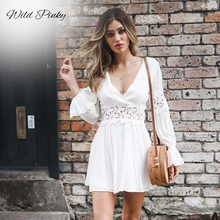 WildPinky New White Crochet Dress Women Long Sleeve Elegant Short Dress Back Cut out Button Party Mini Dress Robe Femme Vestidos concise cut out raglan sleeve black dress for women
