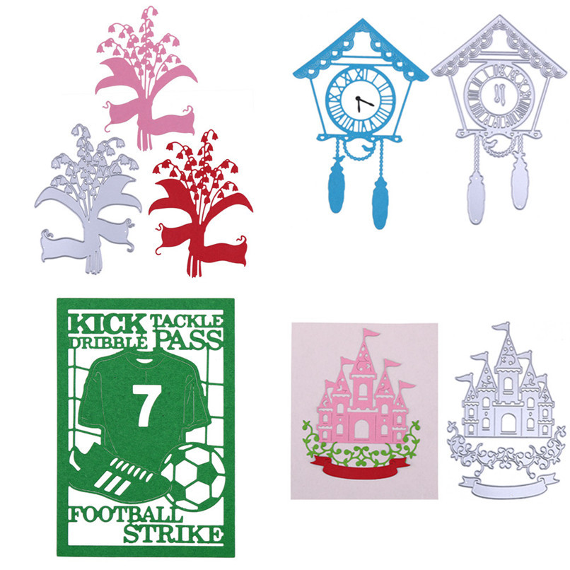New House Clock Metal Cutting Dies Stencils DIY Scrapbooking Album Paper Card Wholesale Free Shipping 4RB26