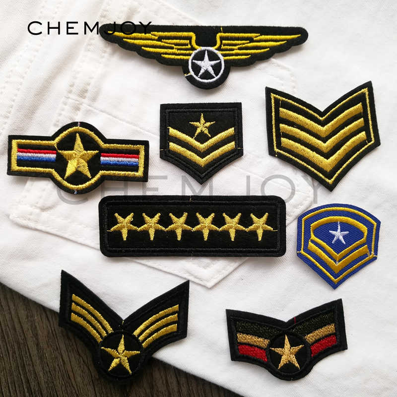 d983bfe2492 Set of 8 Army Military Rank Embroidered Patches for Clothing Iron on Sew  Appliques Biker Patch