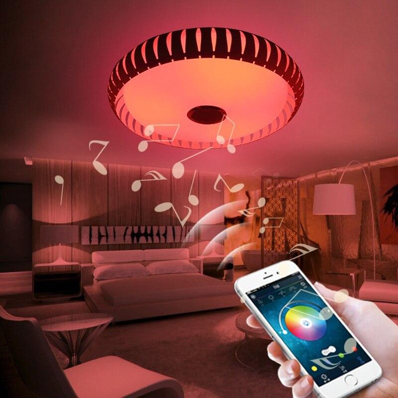 Wireless Bluetooth 4.0 Controllo HA CONDOTTO LA Luce di Soffitto Music & Multi Colori Che Cambiano Intelligente led lampada da soffitto in metallo & Acrilico paralume - 3