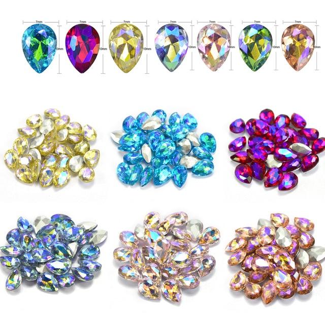 10 SZTUK Kryształ AB Dżetów 3D Kolorowe Kropla Wody Kamień Szkło Lustro Efekt Glitter Nail Art Dekoracje do Paznokci Narzędzia CH103