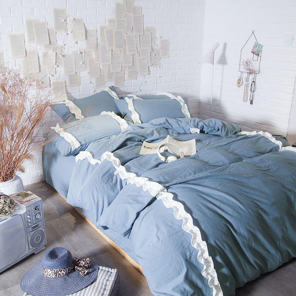 Blue and white bedding - Blue Grey Princess Bedding Set White Lace Decor Duvet Cover Bedsheet Pillowcases 4pcs Collection Bedlinen 8