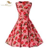 Plus Size Women Summer Dress XXL VD0224 Sleeveless Strawberry Print Cotton Audrey Hepburn Swing Retro Vintage