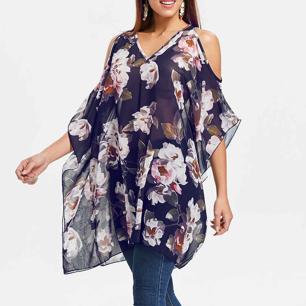737f7e1ddca98f ... Women Plus Size Floral Printed V-Neck Half Sleeve Open Shoulder Tops  Blouse Women s Large ...