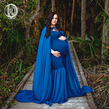 D&J New Long Cloak Cape Dress with 3m Long Train Soft Chiffon Pregnancy Maxi Dress Maternity Photo for Photo Shoot Props