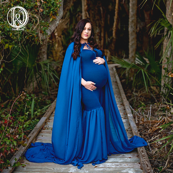 D&J New Long Cloak Cape Dress with 3m Train Soft Chiffon Pregnancy Maxi Maternity Photo for Shoot Props