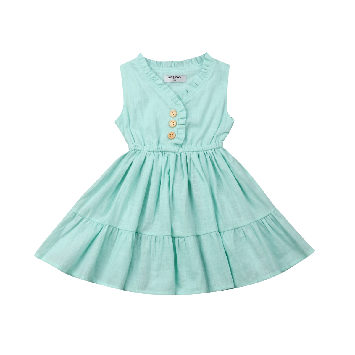 2019 Newest Style Spring Summer Newborn Kids Baby Girl Sleeveless Ruffles Adorable Dress Party Holiday Sundress 3-6years