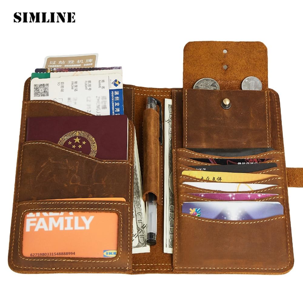 Vintage Genuine Leather Passport Wallet Holder Cover Men Crazy Horse Cowhide Male Long Travel Wallets Card