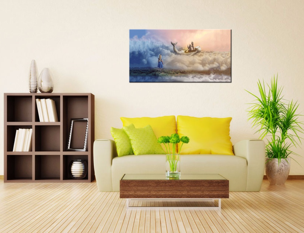 Visual Art Decor Little Girl and The Whale Castle Canvas Printing ...
