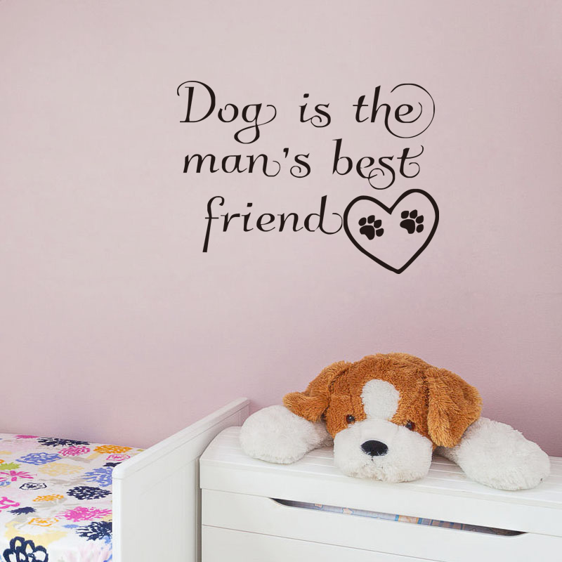 Quotes Wall Decals Dog Is The Mans Best Friend Vinyl Wall Paper Dog Paw Pet Shop Decor Living Room Wall Decals Home Decor