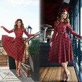 2017 Mujeres Del Otoño del Resorte de Alta velocidad Venta Caliente A Cuadros de Talle Alto Vestido Largo de Manga Larga Casual Oficina Elegnt vestido Vestidos