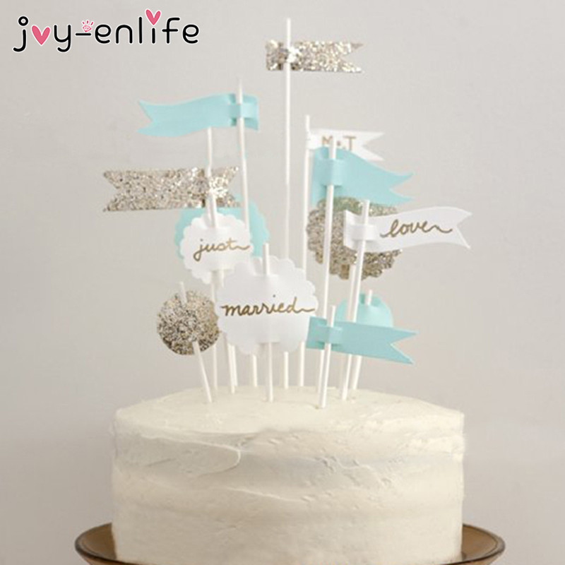JOYENLIFE 12pcs Blue/White/Sparkling Silver Happy Birthday Cupcake Topper Baby Shower Cake Decor Kids Party Decor Supplies