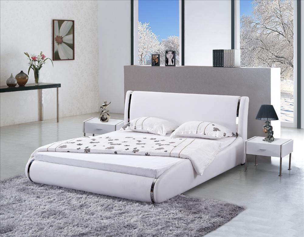 Fashion Bedroom Furniture Impressive Modern White Leather High Back Soft Bed Stainless Steel . Design Decoration
