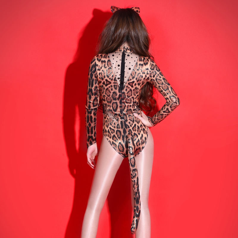 Leopard Print Fashion Nightclub DS Singer Stage Performance Costume for Lady Pole Dancing Wear Sexy Halloween Catwoman Costume