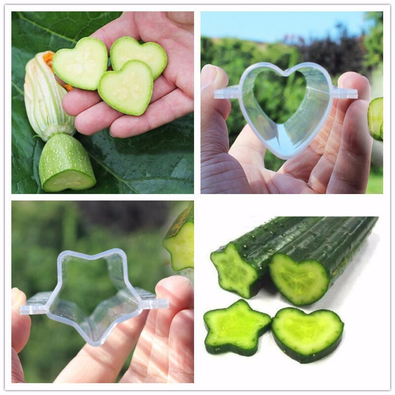 WHISM 5PCS Garden Cucumber Growing Mold Heart/Star Shaped Plastic Fruit Vegetable Apple Strawberry Shaping Growth Forming Mould