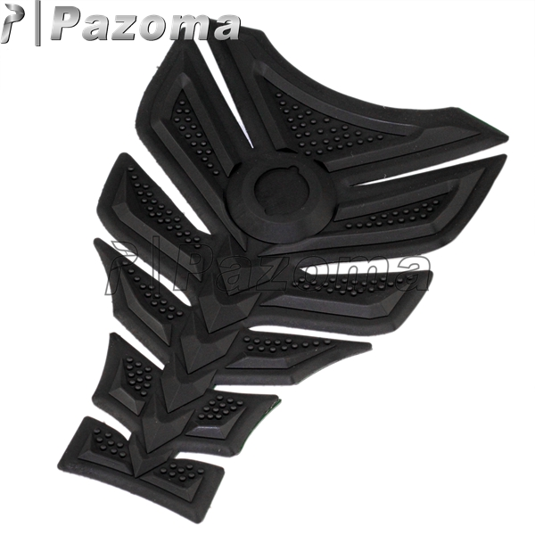 PAZOMA 1 Pcs Black Rubber Tank Pad Tankpad Protector Sticker For Motorcycle Universal Fishbone