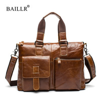 BAILLR Brand Men Briefcase First Layer Of Cowhide Real Leather Men Crossbody Shoulder Bag Men Genuine
