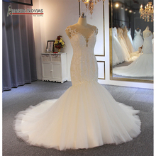 Beading mermaid wedding dress robe demoiselle dhonneur