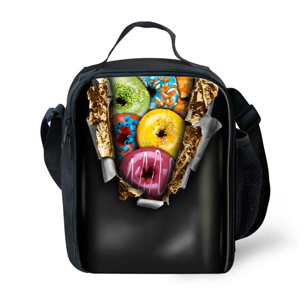 Trendy Portable Insulated Polyeste Lunch Bag Doughnut Print Thermal Food Picnic Lunch Bags Women Kids Cooler Lunch Bag Tote