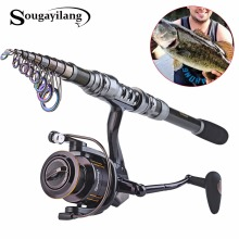 Sougayilang Spinning Fishing Rod Combo 1.8-3.6m Telescopic Fishing Rod and 14BB Spinning Fishing Reel Wheel Set Fishing Rod Kit