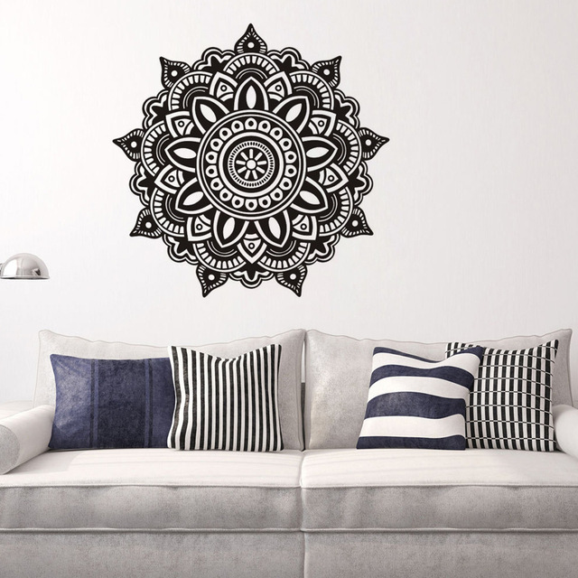 Creative Black Mandala Flower Wall Stickers Wallpaper Decoration