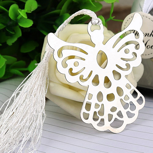 Hollow Holy Guardian Angel Bookmark Tassels Stationary Christening Favor Gift
