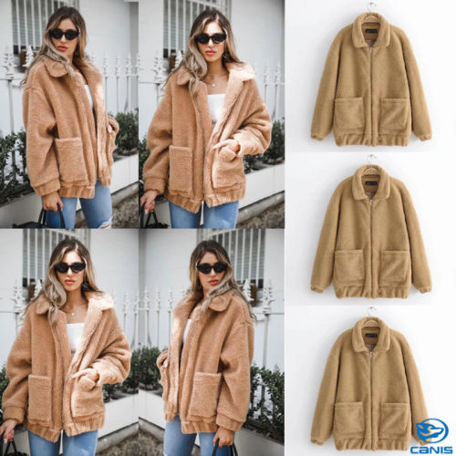 Womens Ladies Warm Teddy Bear Fleece Tops Zip Up Jacket Oversized Outdoor Coats