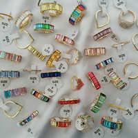 AOTEMAN alta calidad mezcla Arco Iris Color cúbico zirconia banda dedo anillo para mujeres Baguetee CZ cristal Moda anillo joyería 2019