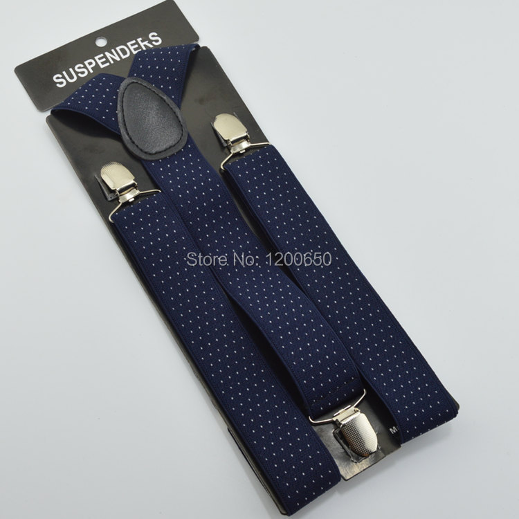 Shap Mens Elastic Suspenders Belt Metal Clip on 35mm Navy blue with White Dots