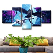 5 Piece How To Train Your Dragon 3 The Hidden World Night Fury and Light HD Movie Poster Canvas Paintings for Wall Decor