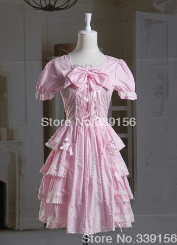 Custom Pink Cotton Pink Lace Ruffled Bow Cotton Sweet Lolita Dress,Any Size Accept