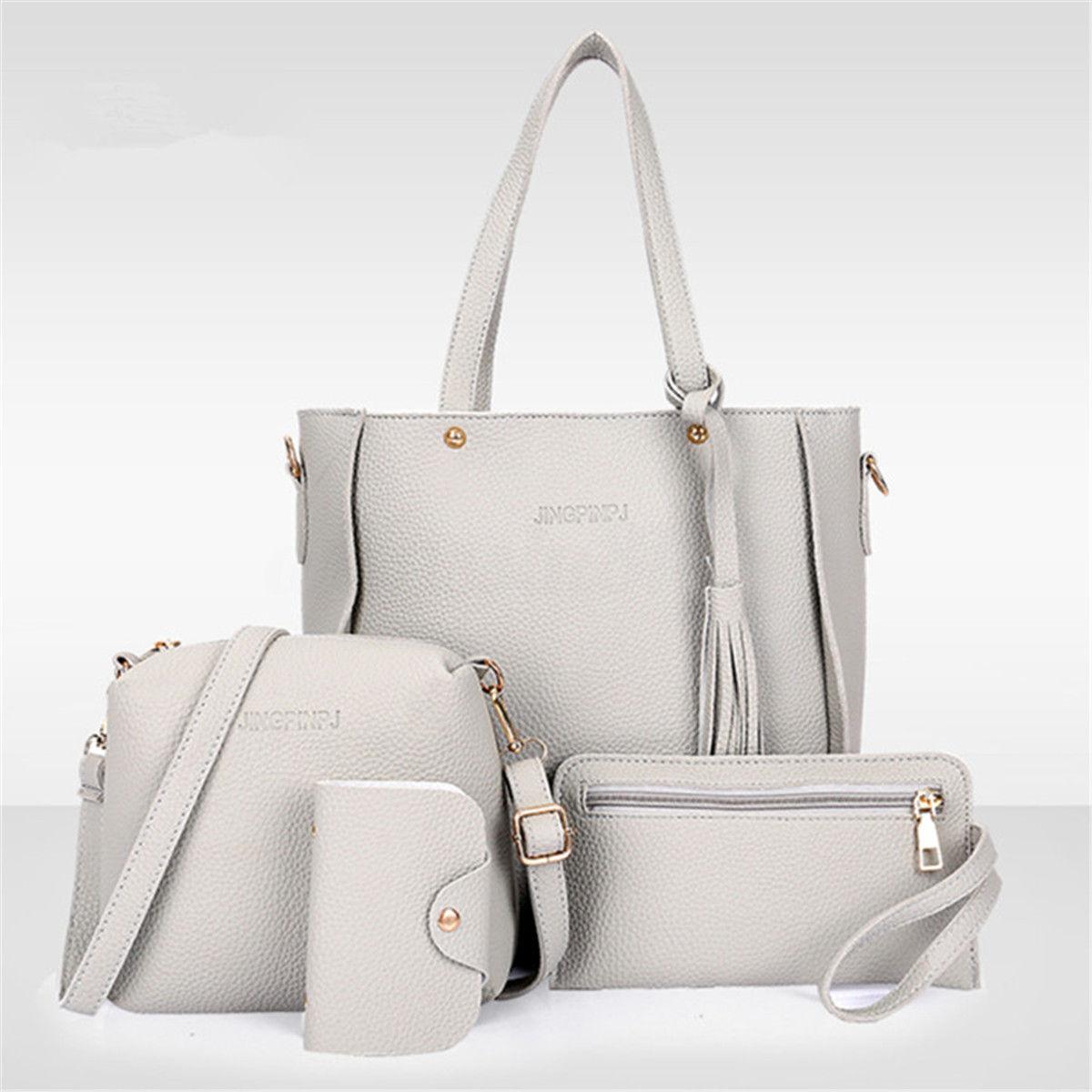 4PCS/Set Women Lady PU Leather 5 Colors Zipper Handbag Shoulder Bags Tote Purse Messenger Satchel Set