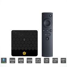 Pente Mini 4 gb 16 gb Android 7.1 Caixa De TV Wi-fi 100 Mbps Suporte 4 USB3.0 k H.265 Conjunto Inteligente top Box-PRETO